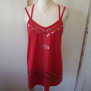 NB red sequin summer top size XL